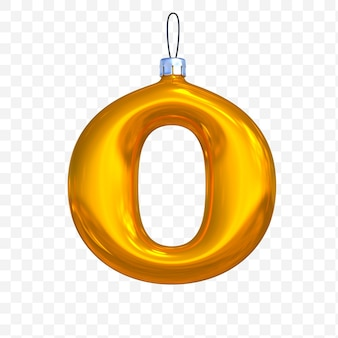 3d render of premium psd golden christmas ball alphabet letter o with isolated background