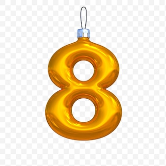 3d render of premium psd golden christmas ball alphabet number 8 with isolated background