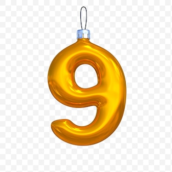 3d render of premium psd golden christmas ball alphabet number 9 with isolated background