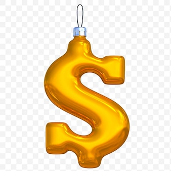 3d render of premium psd golden christmas ball dollar currency sign with isolated background