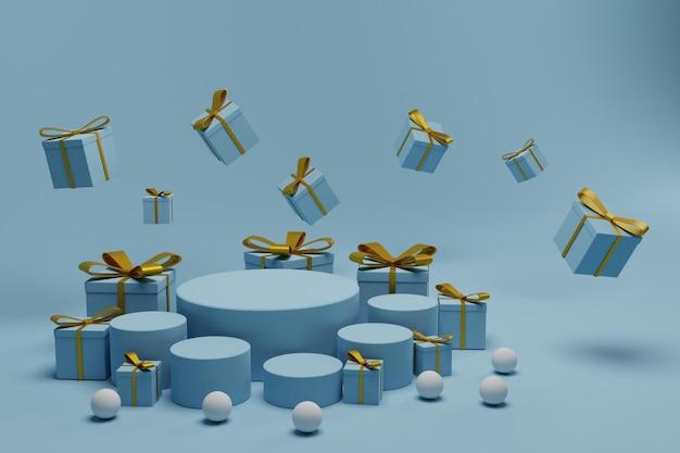 선물 상자가 있는 3d 렌더링 제품 디스플레이