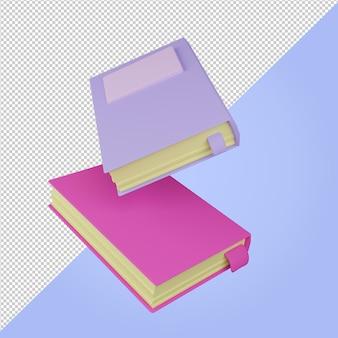 3dレンダリング紫とピンクのフローティングブックアイコン教育