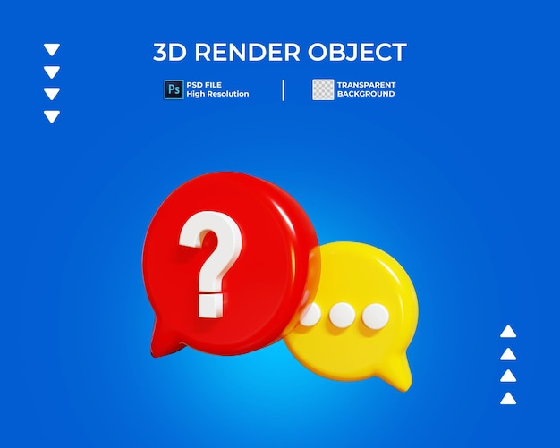 3d render of question chat icon isolated