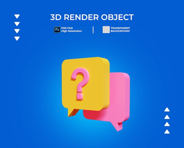 3d render of question mark chat icon isolated