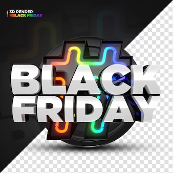 3d render rainbow black friday label with led lights isoleted for composition