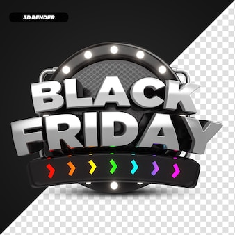 3d 렌더 레인보우 블랙 프라이데이 프로모션 라벨