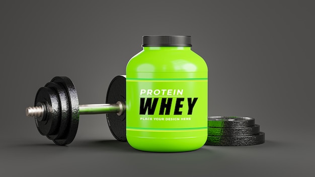 3d render of realistic whey protein bottle with dumbbell for your products