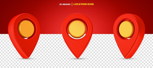 3d визуализация красный и желтый значок местоположения изолированы