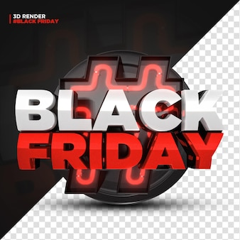 3d render red black friday label with led lights isoleted for composition