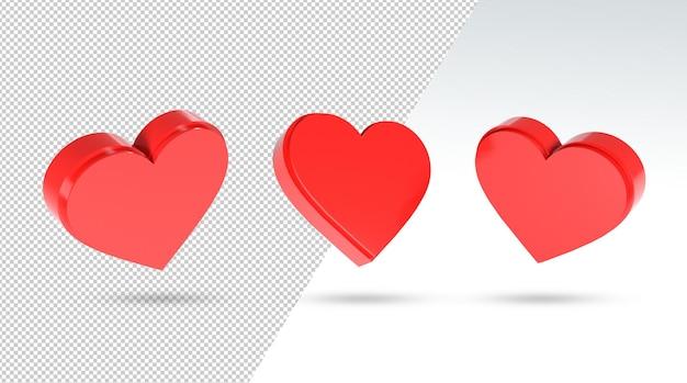 3d визуализация красный цвет в форме сердца любовь