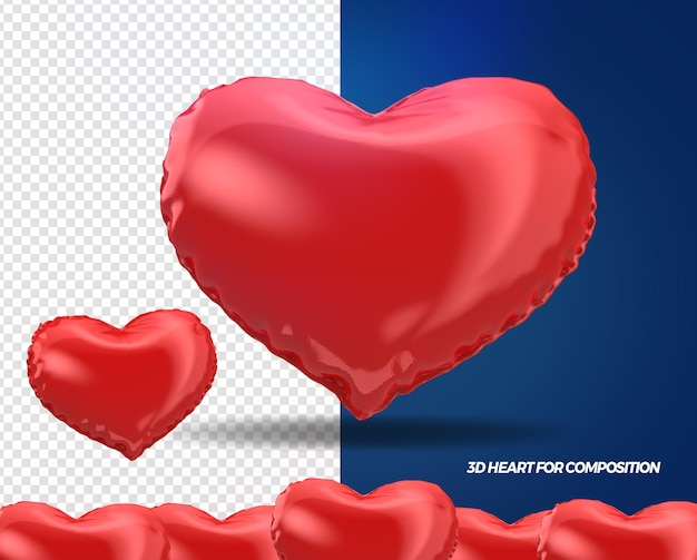3d render red hearts for composition