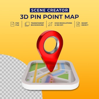 3d render red map pointer icon isolated scene creator