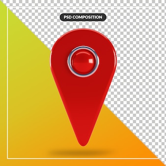 3d render red map pointer icon isolated