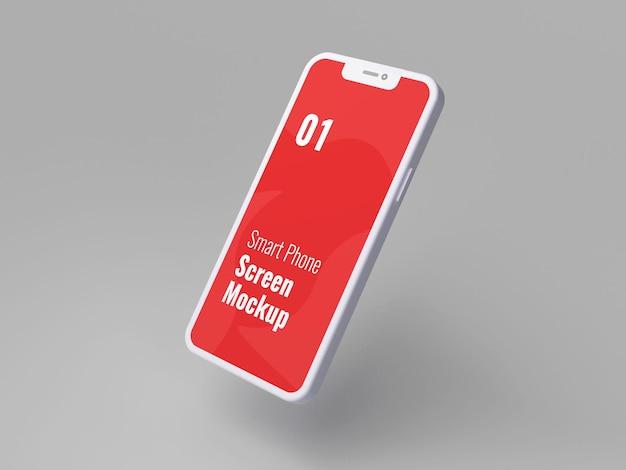 3dレンダリングの赤いスマートフォンのモックアップ