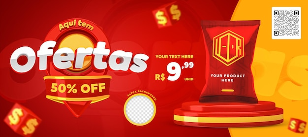 3d render red and yellow here have offers promotion banner social media post template