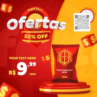 3d render red and yellow here have offers promotion instagram social media post template