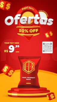 3d render red and yellow here have offers promotion instagram stories social media post template