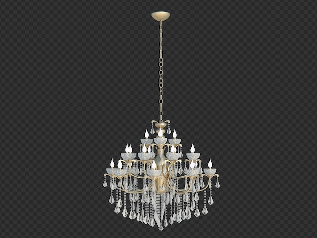 3d render retro chandelier isolated
