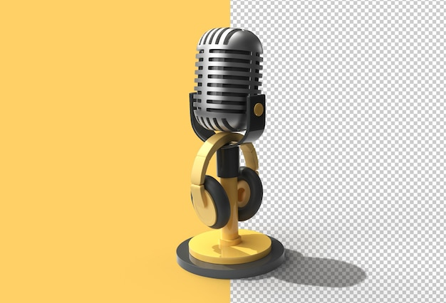 3d render ретро микрофон на короткой ножке и подставка с наушниками.
