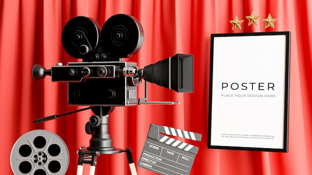 3d render of retro movie camera with cinema poster