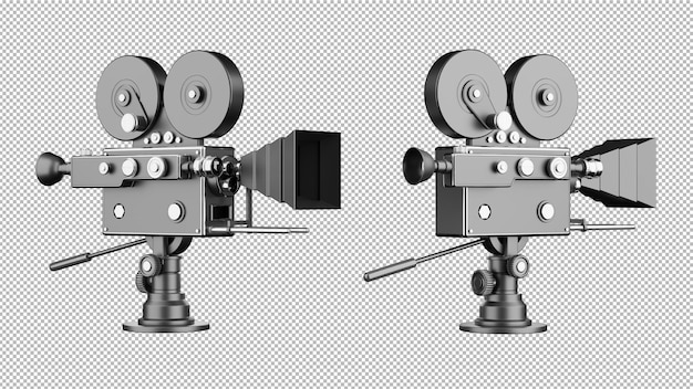3d render of retro movie camera