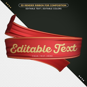 3d render ribbon with editable text for composition