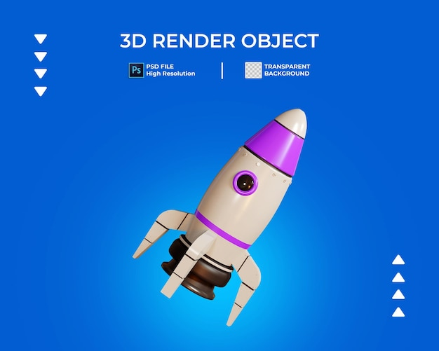 3d render of rocket icon isolated