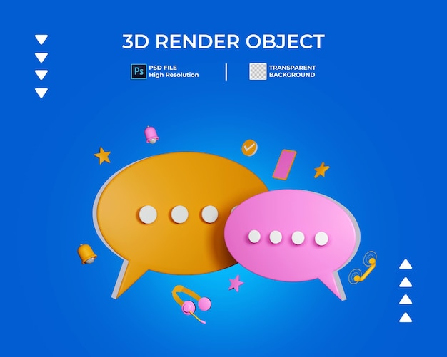 3d render of round chat icon isolated