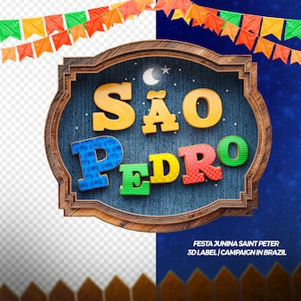 3d render saint peter with flags and wood for campaign and party in brazilian