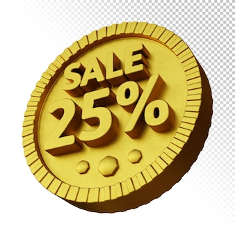 3d render of sale 25% discount with golden bold circular badge isolated