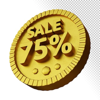 3d render of sale 75% discount with golden bold circular badge isolated