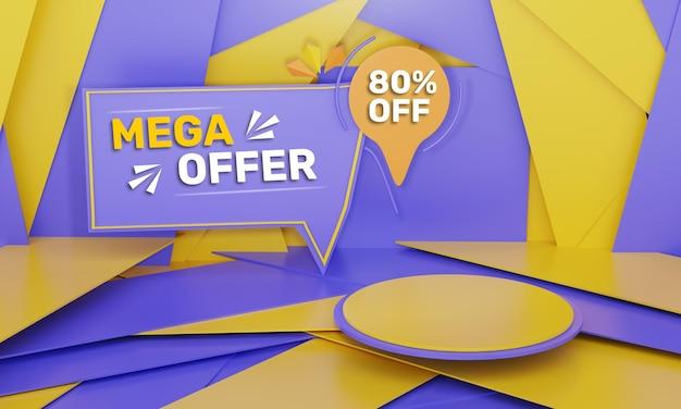 3d визуализация продажи скидка рекламный баннер