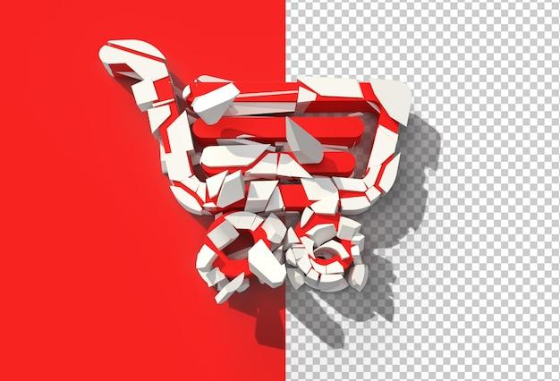 3d render shopping cart broken transparent psd file.