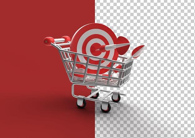 3d 렌더링 쇼핑 카트 bulls eye 화살표가 있는 판매 목표 증가