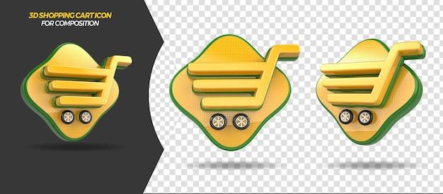 一般的な構成の3dレンダリングショッピングカートアイコン