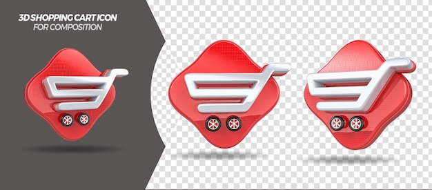3d render shopping cart icon for general composition