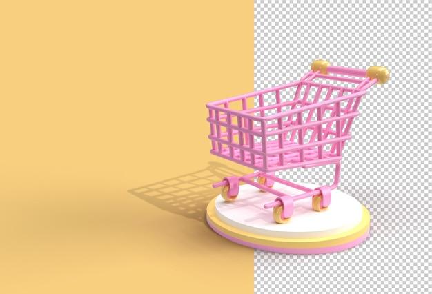 3d 렌더링 쇼핑 카트 아이콘 일러스트 디자인