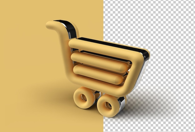 3d render shopping cart pen transparent psd file.