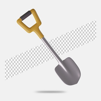 3d render shovel icon isolated