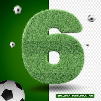 3d render six in grass for sports composition