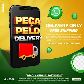 ポルトガル語の雑貨店キャンペーン用の3dレンダリングスマートフォン配信