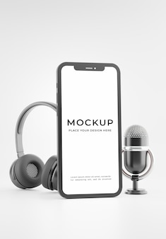 3d render of smartphone microphone headset with padcast concept mockup