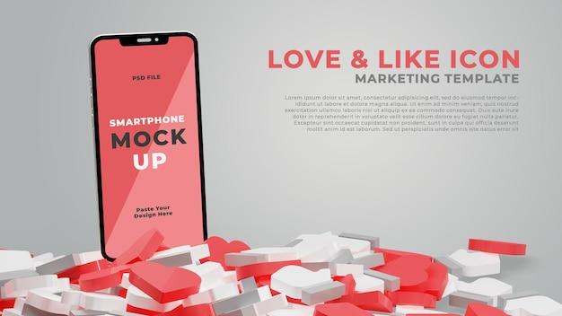 3d визуализация макета смартфона с иконой любви и лайка