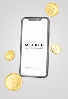3d render of smartphone with bitcoins mockup
