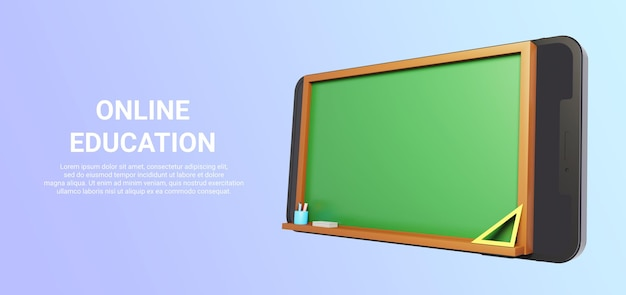 3d render of smartphone with blackboard for online education isolated