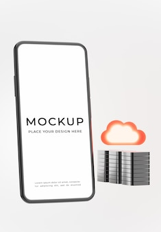 3d render of smartphone with cloud storage concept for product display