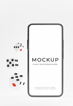 3d render of smartphone with dice floating for product display
