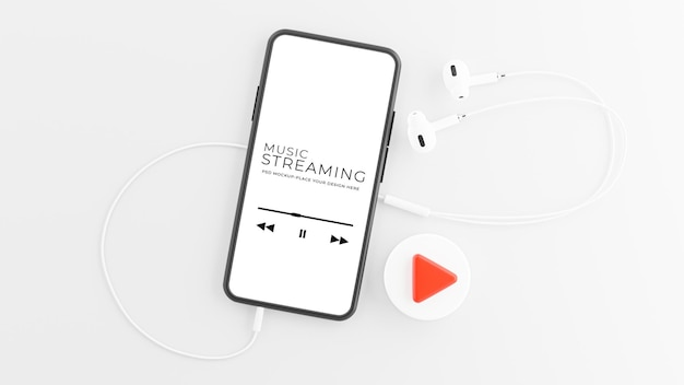 3d render of smartphone with earphone in music streaming concept mockup design Premium Psd