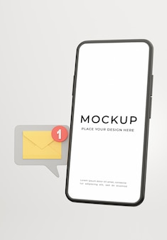 3d render of smartphone with email notification icon for your mockup design
