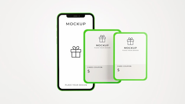 3d render of smartphone with gift card mockup Premium Psd